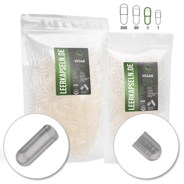70.000 Stück Größe 0 | getrennte vegane HPMC Leerkapseln | Bulkware