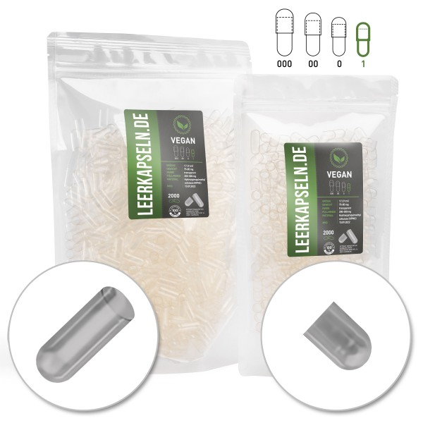 Leerkapseln   Bulkware 90.000 Stück   HPMC   vegan & getrennt (Größe 1)